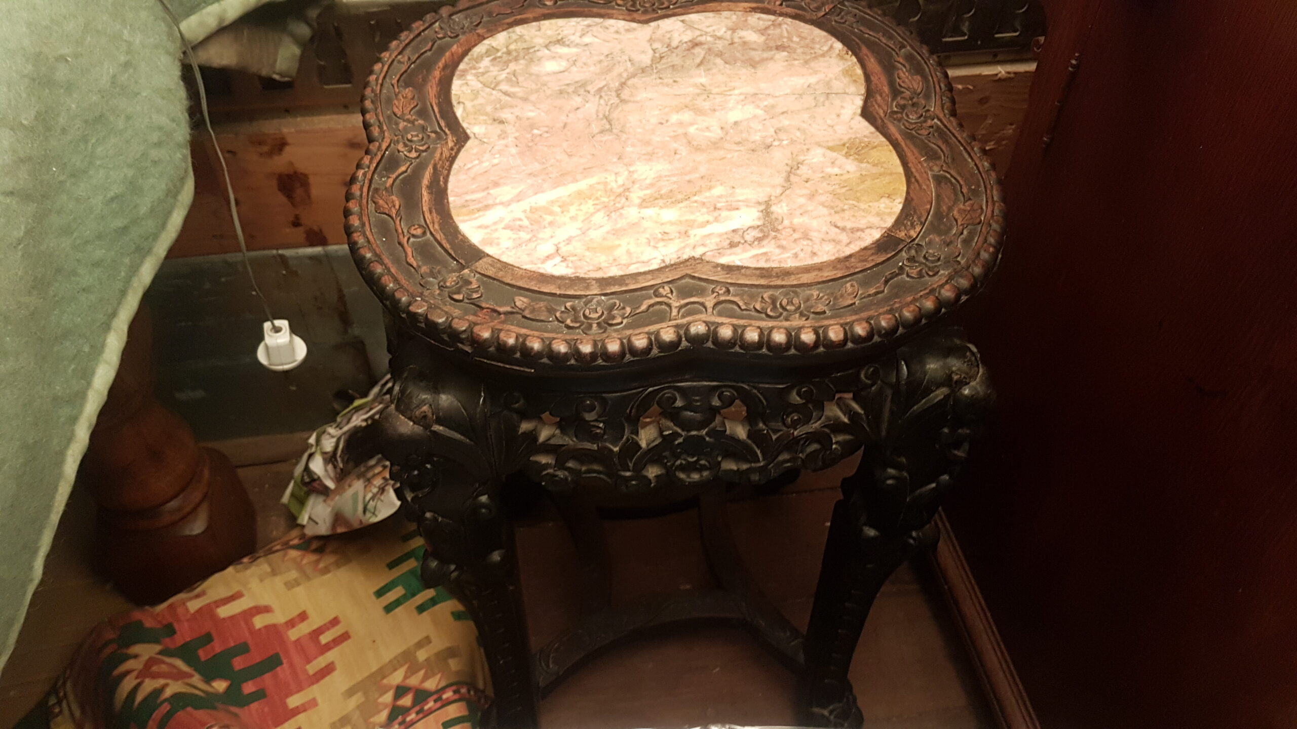 46.antique Chinese hocker.marble top.harwood hand carved